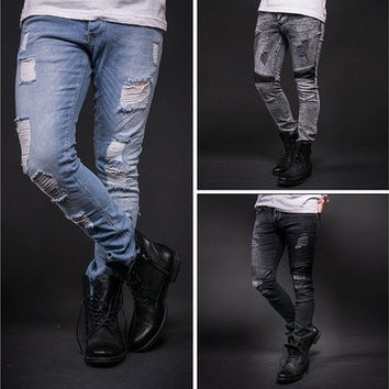 Fashion Mens Casual Jeans Vintage Hole Denim Pants [8833480140]