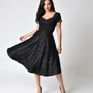 Janie Bryant For Unique Vintage 1950s Style Black Ribbon High Waist Greenwich Swing Skirt