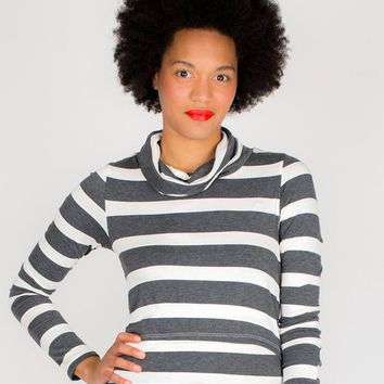 Shelley During & After Turtleneck Charcoal Wide Stripe