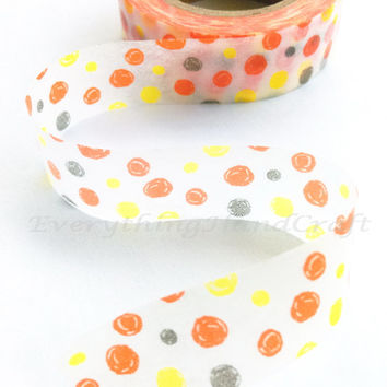 Washi Tape Masking/ Japan Sticky Adhesive Tape / Decorative Masking Tape Scrapbooking Tools Favor Stationery Orange Polka Dots 10m f08