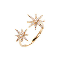 Graziela Gems 18K Yellow Gold Starburst Ring with Diamonds, Size 7