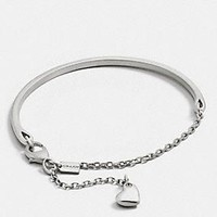 PAVE SCULPTED HEART CHARM BRACELET