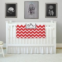 "KESS Original ""Monogram Chevron Red"" Fleece Throw Blanket"