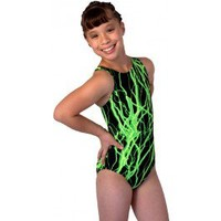 Gymnastics Leotards by Snowflake Designs Green Lightning Leotard Cool Gymnastic Leotards for Workout and Competition