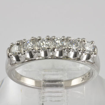 Wedding Ring - Vintage 14KT White Gold Diamond Wedding Band /Eternity Band - C1960