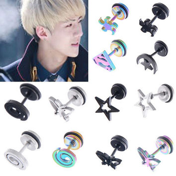 1PC Stainless Steel Punk Gothic Star Skull Batman Cross Barbell Earrings Men Women Ear Studs Piercing Jewelry 12Styles U choose