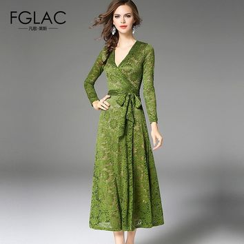 FGLAC women dress New 2018 Spring long sleeved lace dress Elegant Slim high waist Party dress Fashion Solid color Vintage dress