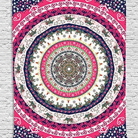 Ethnic Tribal Indian Nepal Bohemian Hippie Hippy Yoga Zen Circle Pattern Life Cycle Mandala Digital Printed Tapestry Wall Hanging Wall Tapestry Living Room Bedroom Decor, Red Navy Green