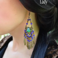 Long Chandelier Earrings, Peacock Eye Cabochon, Bead Fringe, Bronze Filigree. By Alchemy Divine Couture