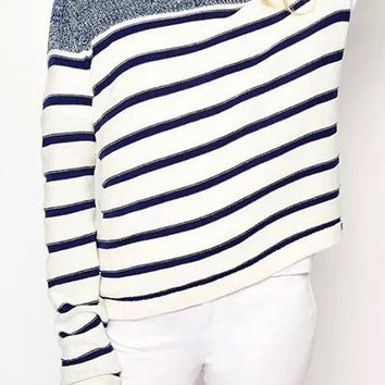 Blue Striped Sweater