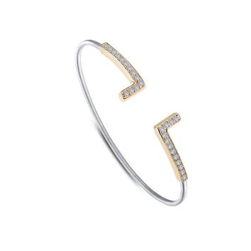 Lafonn Sterling Silver Two-Tone Milano Style Bangle Bracelet with Pave L Endcaps