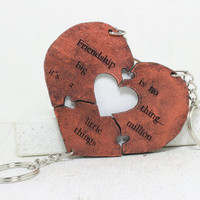 Heart Puzzle Key chain set of 3 Friendship is no big thing saying Best Friend Key Chains Set 37