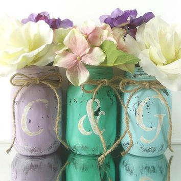Couple's Initials set of Jars, Painted Mason Jars - Three, Rustic - Style, Hand Painted Mason Jars | Wedding Decor