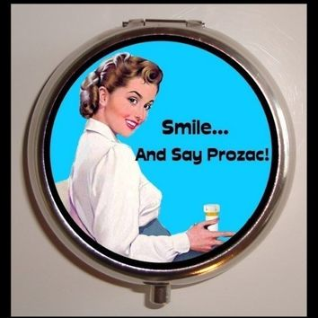Happy Pills Housewife Pinup Pin Up In Need of Drugs Rockabilly Kitsch Funny Pillbox Pill Box Case Holder for Vitamins Pills