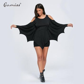 Gamiss Spring Autumn Women Casual Tshirt Halloween Cold Shoulder Batwing Top Long Sleeve Solid Color T Shirt Tops Tees XXL