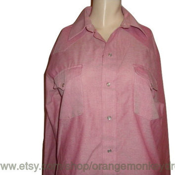 vintage RANCH and TOWN red western cowboy long sleeve pearl snap women unisex shirt  medium large