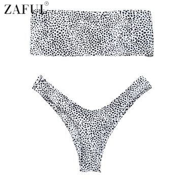 ZAFUL Leopard Print Thong Bandeau Bikini Swimwear 2018 Women High Cut Swimsuit Bathing Suit Strapless Bikini Brazilian Biquini