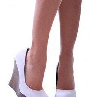 White Pumps / High Heels - White Contrast Dark Brown Wedge | UsTrendy