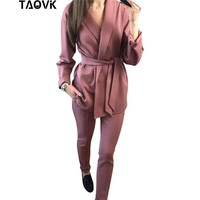 TAOVK Office Lady Pant Suits Women's Sets Belt Blazer top and pencil pants two piece outfits femme ensemble Pantsuit Spring 2019