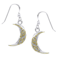 Spiral Crescent Moon Earrings - PS-TEV2914 from Dark Knight Armoury