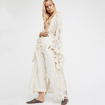 Womens Blusas White Blouse Bell Sleeve Floral Kimono Cardigan Long Bohemian White Kimonos Outwear Loose Beach Maxi Blouses Tops