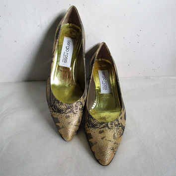 Womens Vintage Sergio Rossi 80s Shoes Gold Lamay Tropical Kitten Heel Leather 1980s Designer Footwear Italy 38.5