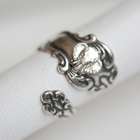 Antique Spoon Ring, Jewelry Gift, Silver Elephant Ring, Silver Spoon Ring,Antique Ring,Silver Ring,Wrapped,Adjustable,Bridesmaid.