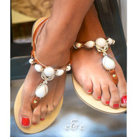 Leather women Brown Sandal shoes with radiant White Pearls