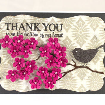 Thank you card, From my heart, Pink flowers, Grateful, For a friend, Thank you from the bottom of my heart