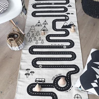 Adventure BABY PLAY MAT | 180 x 70 cm | Black and white nursery, Baby Present, Boys Nursery