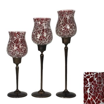 Graceful 3 Piece Red Mosaic Glass Candle Holders
