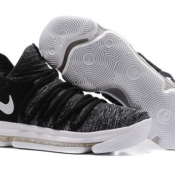2017 Nike Mens Kevin Durant KD 10 Black/White Basketball Shoes