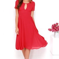 Moonlit Dance Red Midi Dress