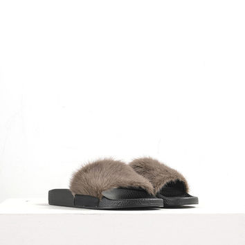 Furry Leather Slippers