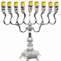 "Lamp Lighters Ultimate Judaica Silver Plated Menorah - 13.5""H X 13""W"