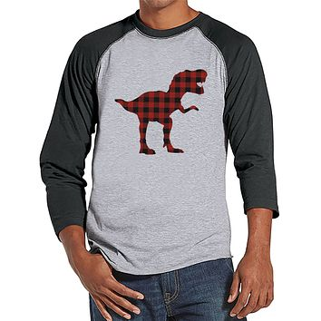 Men's Dinosaur Shirt - Buffalo Plaid Dino Grey Raglan - Funny Mens Shirts - Plaid Dinosaur Shirt - Dinosaur Gift Idea for Him - Dino Lover
