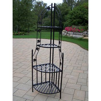 4-Tier Wrought Iron Corner Metal Planter Stand in Black