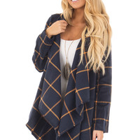 Navy Long Sleeve Thick Knit Cardigan