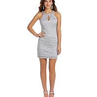 Teeze Me Glitter Lace Necklace Sheath Dress - Grey