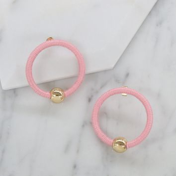 Beach Babe Hoop Earrings in Pink and Gold