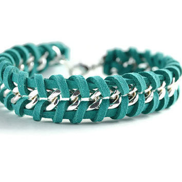 Dark Teal Woven Silver Chain Bracelet, Teal Suede Woven Through a Single Chain, Teal Chain Bracelet, Chevron Chain Bracelet