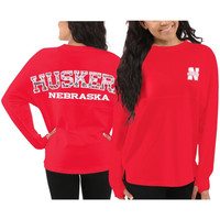 Nebraska Cornhuskers Women's Aztec Sweeper Long Sleeve Top – Red