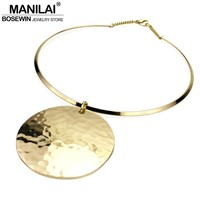 MANILAI Punk Women Collar Choker Necklace Maxi Big Circle Metal Pendants Torques Statement Necklaces Golden & Silver Color