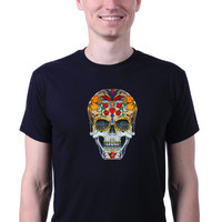 Sugar Skull Colorful Punk Alternative Goth Mexican Day of the Dead T-shirt