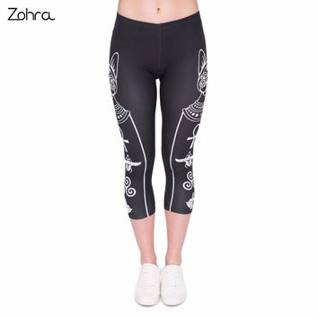 Zohra 2017 Summer Women Capri Leggings Egyptian Cat Printing Sexy Mid-Calf 3/4 Fitness Trousers Movement Leggins Capri Pants