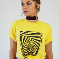 Yellow Hypnotic Spiral Graphic Unisex Tee