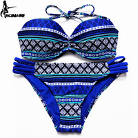 2016 Bandeau Bikinis Print Push Up Bikini Sexy Floral Bandeau Swimwear Women Swimsuit Push Up Brazilian Bikini Bathing Suits