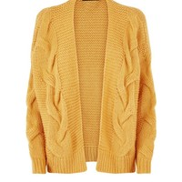 Mustard Cable Knit Drop Sleeve Cardigan | New Look