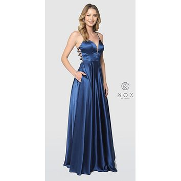 Navy Blue A-Line Long Prom Dress Strappy Back with Pockets