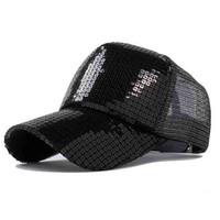 Baseball Cap simple solid color sequined cap outdoor sports  women fashion street Benn hats